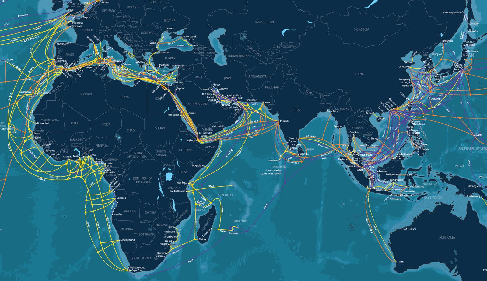 全球资讯_全球部分海底电缆地图