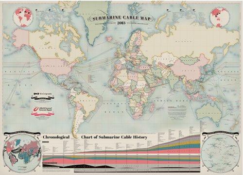 全球现役232条海底光缆分布图