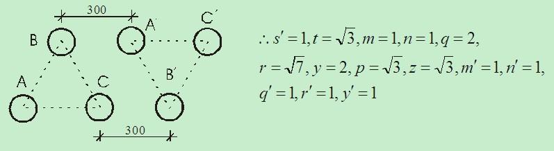 图3  正反三角形电缆排管内排列方式